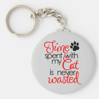 TIme With Cat Key Ring