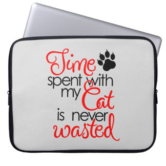 TIme With Cat Laptop Sleeve