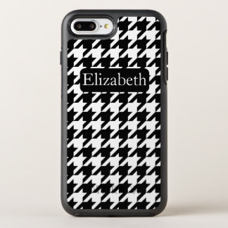 Timeless Houndstooth Black and White Name OtterBox Symmetry iPhone 8 Plus/7 Plus Case