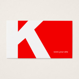Timeless Huge Letter Business Card (red & white)