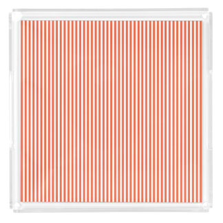 Timeless Orange Stripe Design Acrylic Tray