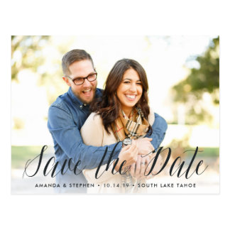 Timeless Script | Photo Save the Date Postcard