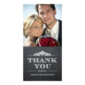 Timeless Sentiment Thank You Cards - Chalkboard Photo Card Template