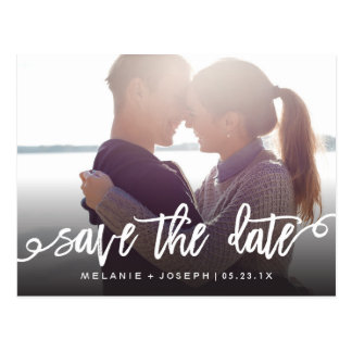 Timely Script Save The Date Full Photo Postcard