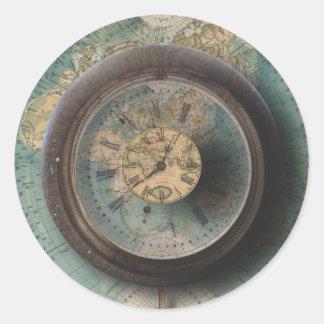 Timepiece World Map Steampunk Clocks Round Sticker