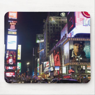 Times Square at night in Manhattan, New York Mousepads