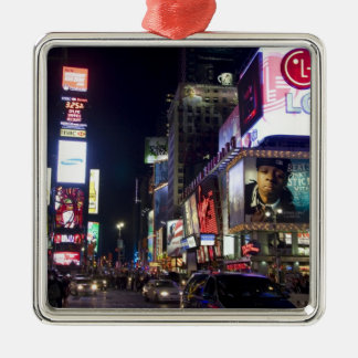 Times Square at night in Manhattan, New York Silver-Colored Square Decoration
