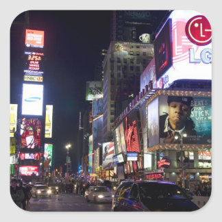 Times Square at night in Manhattan, New York Square Sticker