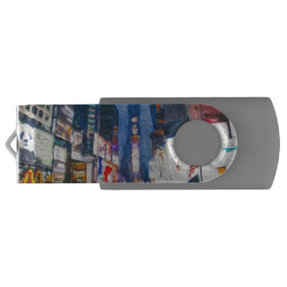 Times Square at Night Painting USB Flash Drive