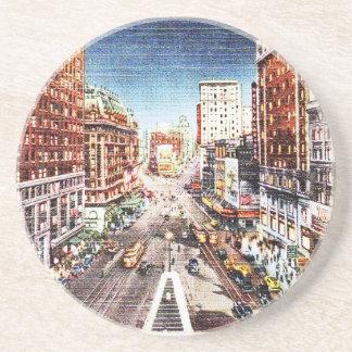 Times Square at Nigth Vintage Print Coaster