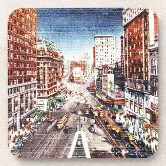 Times Square at Nigth Vintage Print Drink Coaster