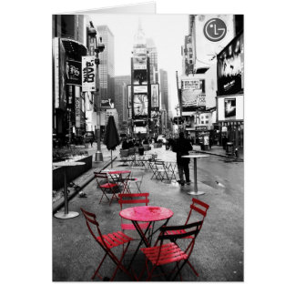 Times Square Black White & Red Greeting Card
