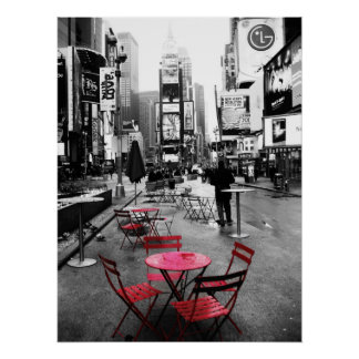 Times Square Black White & Red Poster