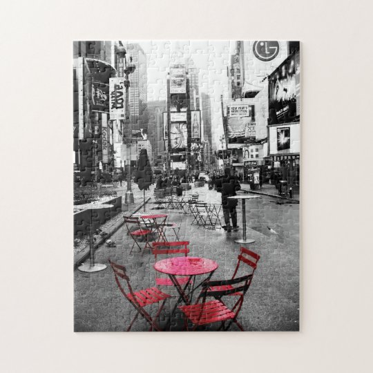 Times Square Black White Red Puzzle
