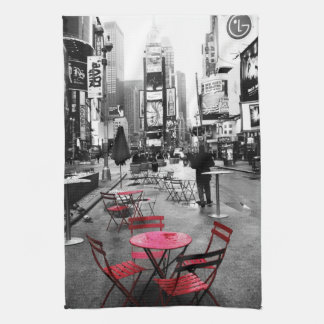 Times Square Black White Red Towel