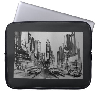 Times Square in Black and White Laptop Sleeve 15""