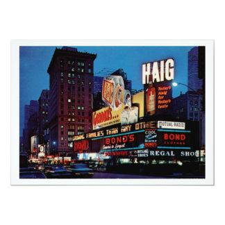 Times Square, New York City Vintage 13 Cm X 18 Cm Invitation Card