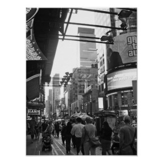 Times Square NYC Black And White Photograph Poster