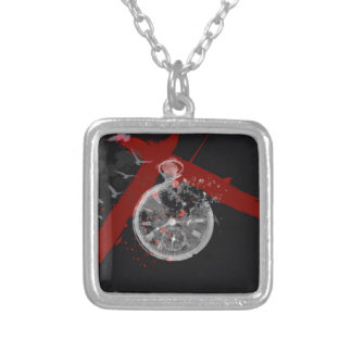 Time's ticking square pendant necklace