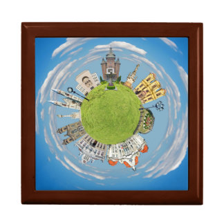 timisoara city romania tiny little planet landmark large square gift box