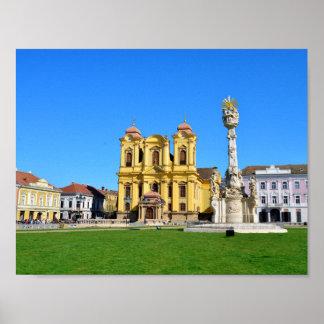 timisoara romania church dome landmark unirii squa poster