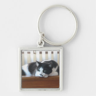 Timmy Silver-Colored Square Key Ring