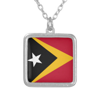 Timor leste flag silver plated necklace