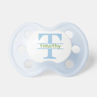 """""""Timothy"""" Personalized Name Initial Baby Pacifiers"""
