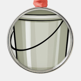 Tin bucket Silver-Colored round decoration