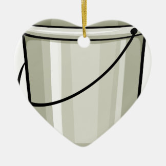 Tin bucket ceramic heart decoration