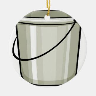 Tin bucket round ceramic decoration