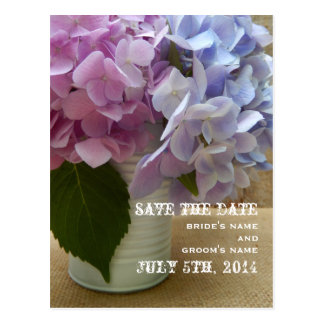 Tin Can Of Hydrangeas Save The Date Postcard