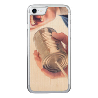 Tin can telephone carved iPhone 8/7 case