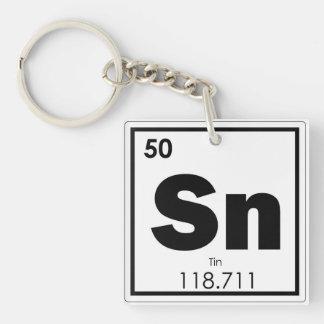 Tin chemical element symbol chemistry formula geek key ring
