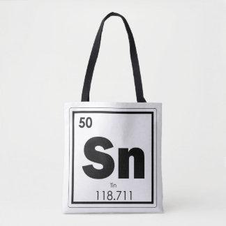 Tin chemical element symbol chemistry formula geek tote bag