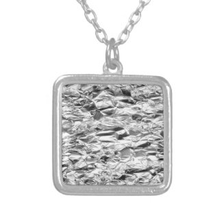 Tin Foil Silver Metal Aluminum Pattern Silver Plated Necklace