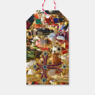 Tin Vintage Ornaments and Cross Christmas Gift Tag