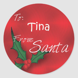 Tina Personalised Holly Gift Tags From Santa Round Sticker