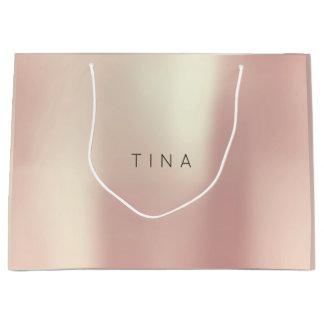 Tina Pink Rose Gold Blush Pearly Minimal Gift Large Gift Bag