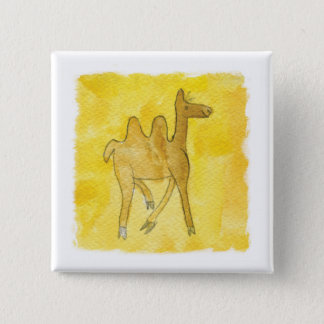 Tinca's Drawings. Childish Watercolor with Camel 15 Cm Square Badge