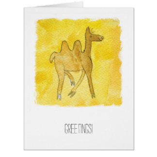 Tinca's Drawings. Childish Watercolor with Camel Card