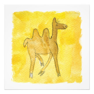 Tinca's Drawings. Childish Watercolor with Camel Photo Print