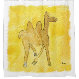 Tinca's Drawings. Childish Watercolor with Camel Shower Curtain