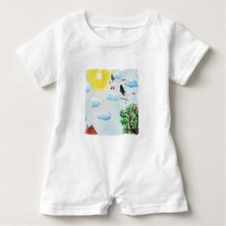 Tinca's Drawings. Childish Watercolor with Swans Baby Bodysuit