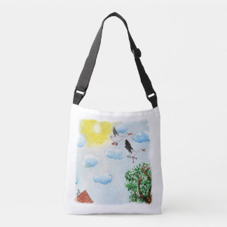 Tinca's Drawings. Childish Watercolor with Swans Crossbody Bag