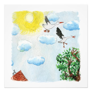 Tinca's Drawings. Childish Watercolor with Swans Photo Print