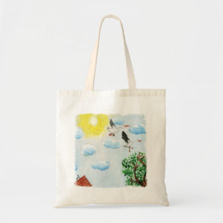Tinca's Drawings. Childish Watercolor with Swans Tote Bag