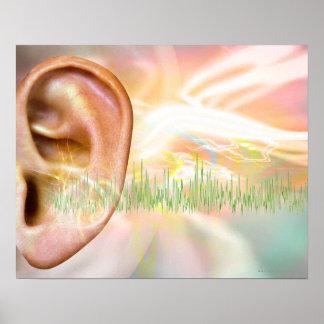Tinnitus, conceptual computer artwork. poster
