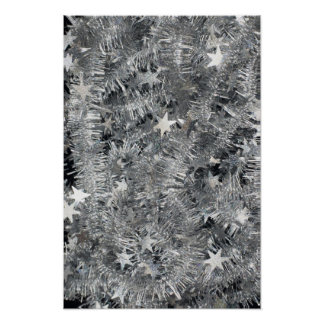 tinsel SILVER TINSEL decorations stars strings Posters