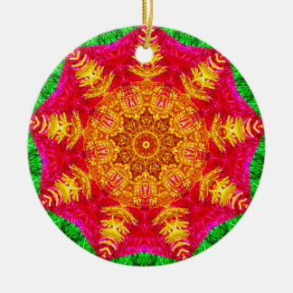 Tinsel Star Fractal Ceramic Ornament
